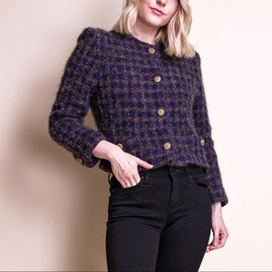 Vintage 80s tweed plaid crop blazer jacket